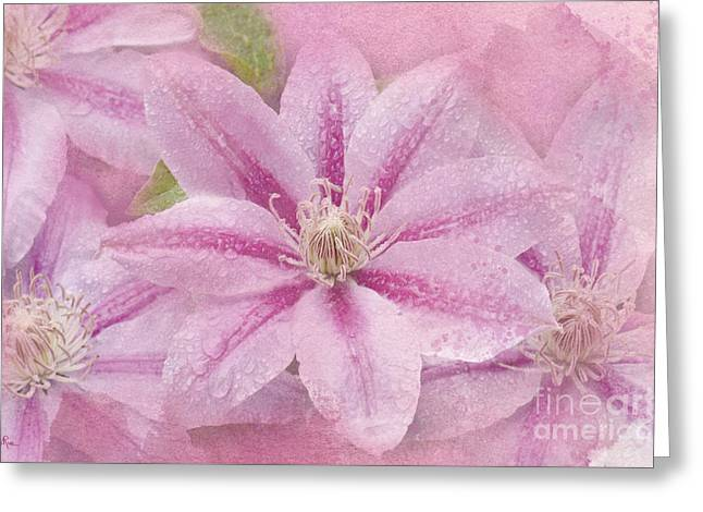 Pink Clematis Profusion Greeting Card by Betty LaRue