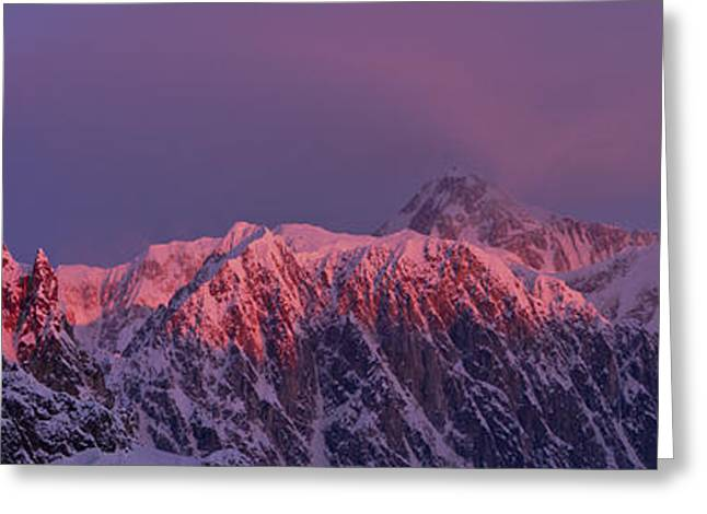 Winter Photos Photographs Greeting Cards - Pink Clouds Over Mt. Mckinley, Pink Greeting Card by Gary Schultz