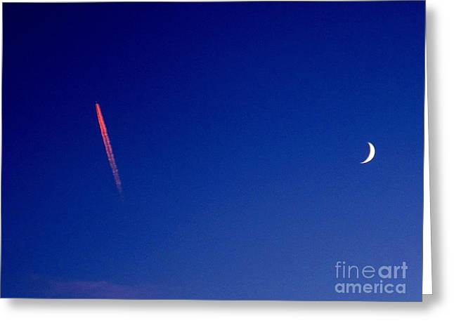Pink Con Trail And Moon Greeting Card by Donnie Freeman