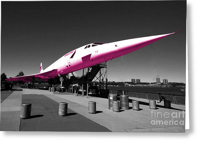 Concorde Greeting Cards - Pink Concorde Greeting Card by Rob Hawkins