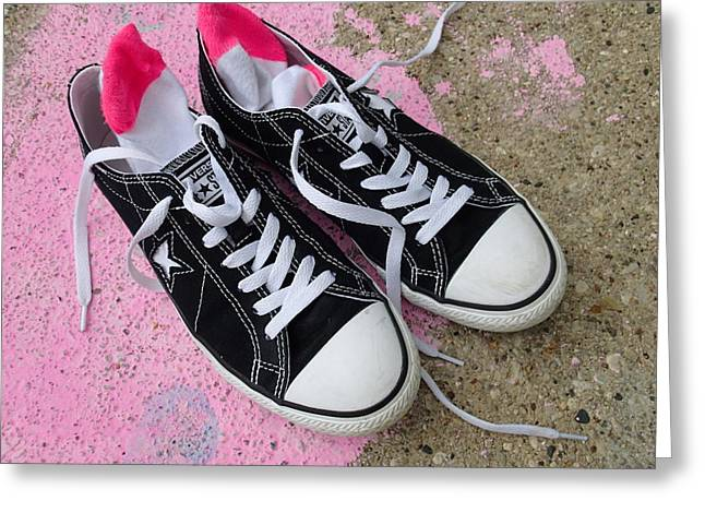 Conversing Digital Art Greeting Cards - Pink Converse Greeting Card by Geoff Strehlow