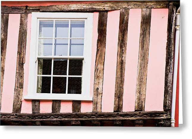 Half-timbered Greeting Cards - Pink cottage wall Greeting Card by Tom Gowanlock