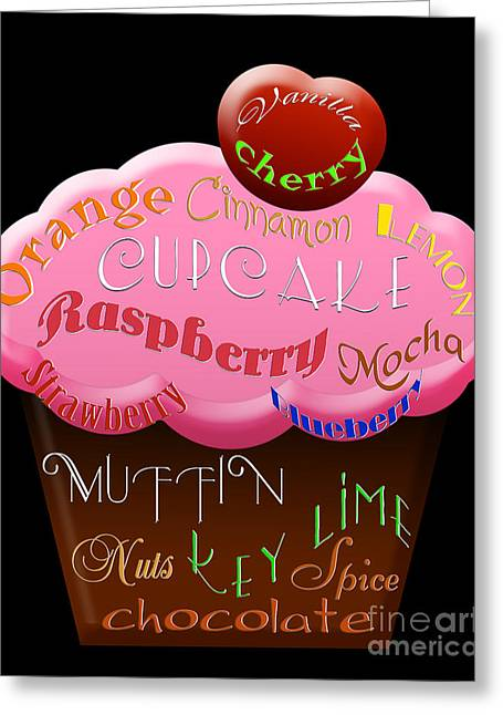 Orange And Brown Designs Greeting Cards - Pink Cupcake Typography Greeting Card by Andee Design