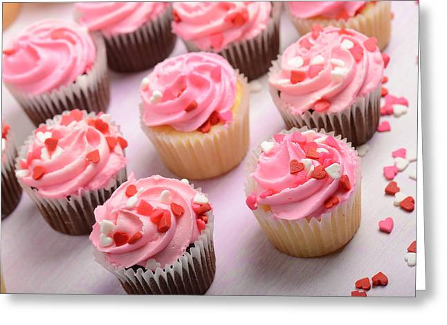 Occasion Greeting Cards - Pink Cupcakes Close Up Greeting Card by Brandon Bourdages