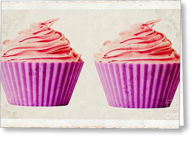 Duo Greeting Cards - Pink Cupcakes Greeting Card by Edward Fielding