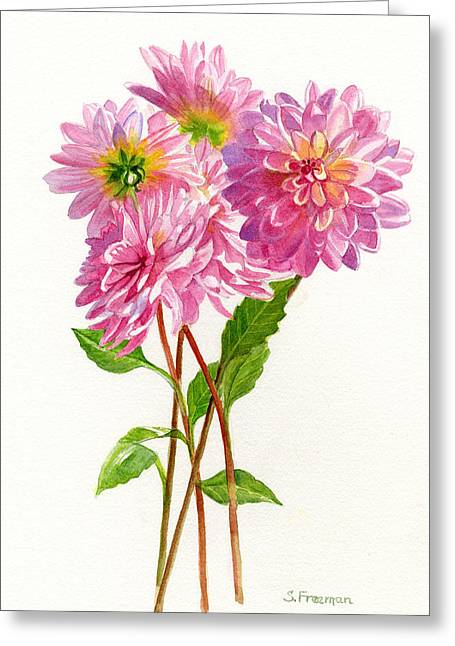 Pink Dahlias Greeting Card by Sharon Freeman