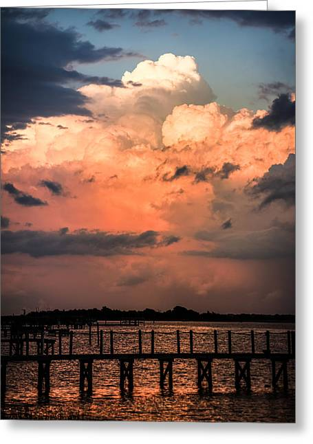 Stormy Weather Greeting Cards - Pink Dawn Greeting Card by Karen Wiles