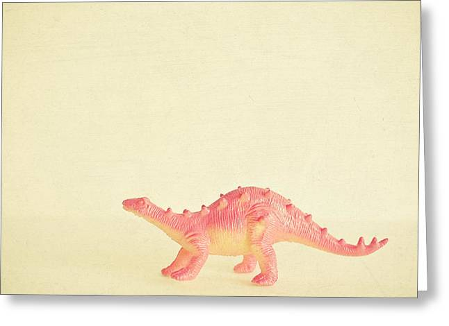 Pink Dinosaur Greeting Card by Cassia Beck