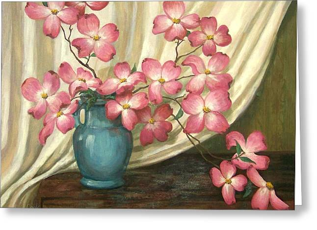 Dogwood Greeting Cards - Pink Dogwoods Greeting Card by Evie Cook