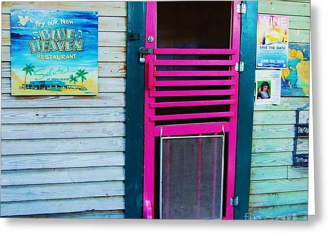 Screen Doors Greeting Cards - Pink Door Greeting Card by Debbi Granruth