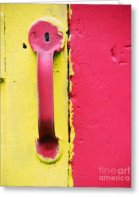 Becky Greeting Cards - Pink Door Knob Greeting Card by Becky Hayes