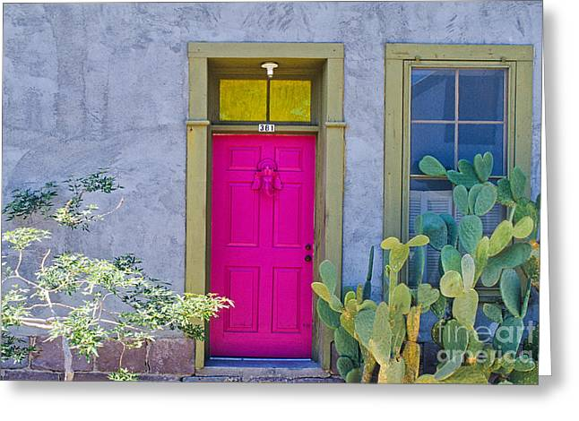 Entrance Door Greeting Cards - Pink Door Greeting Card by Richard and Ellen Thane