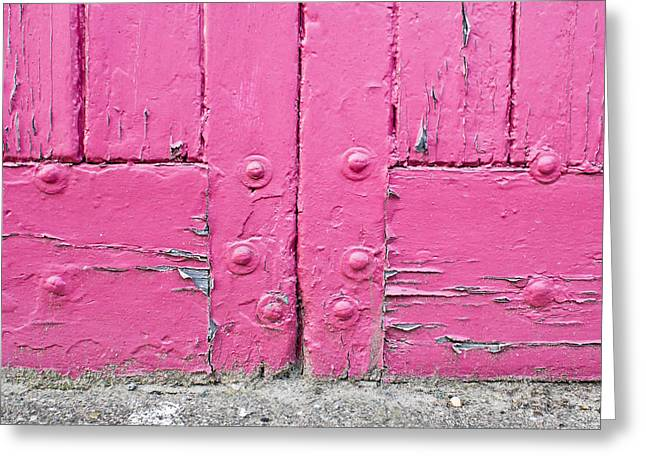 Cupboard Greeting Cards - Pink door Greeting Card by Tom Gowanlock