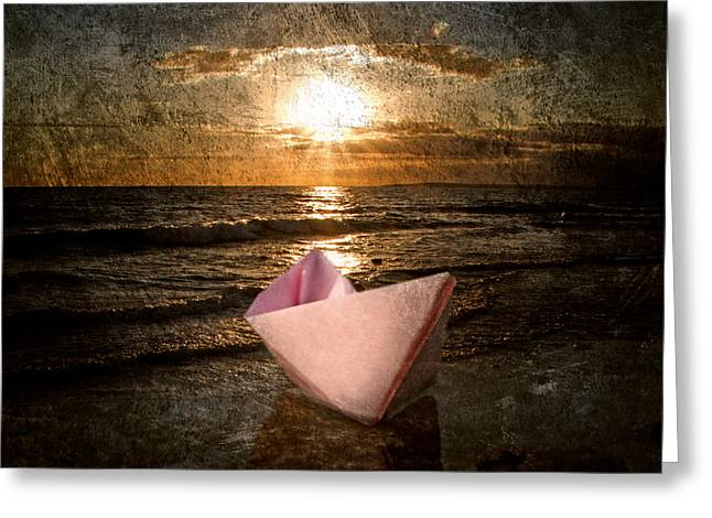 Old Ship Art Greeting Cards - Pink Dreams Greeting Card by Stylianos Kleanthous