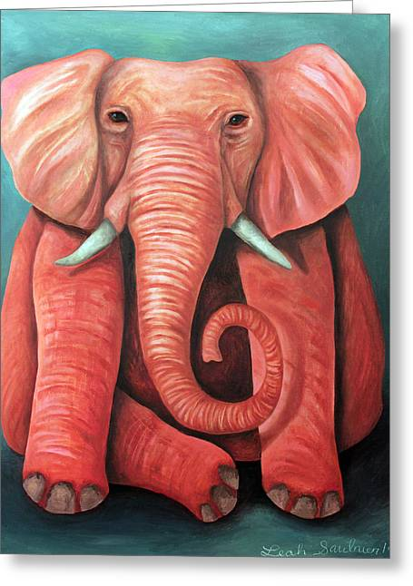Elephant In The Room Greeting Cards - Pink Elephant edit 2 Greeting Card by Leah Saulnier The Painting Maniac
