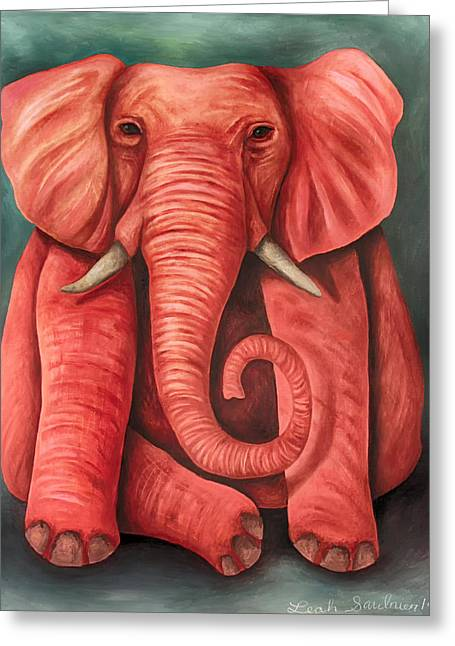 Elephant In The Room Greeting Cards - Pink Elephant edit 3 Greeting Card by Leah Saulnier The Painting Maniac