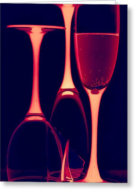 Wine-bottle Glass Greeting Cards - Wine glasses with red wine Greeting Card by   larisa Fedotova