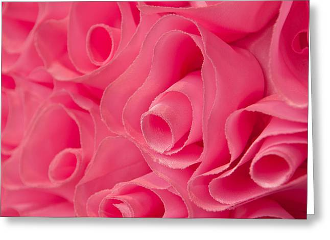 Artificial Flowers Greeting Cards - Pink Fabric Rose Background Greeting Card by Brandon Bourdages