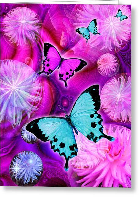 Fantasy Animal Greeting Cards - Pink Fantasy Flower Greeting Card by Alixandra Mullins