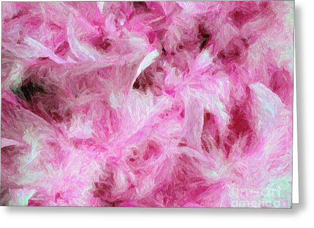 Oil Like Digital Greeting Cards - Pink feathers in Digital Oil Impasto Greeting Card by Ed Churchill