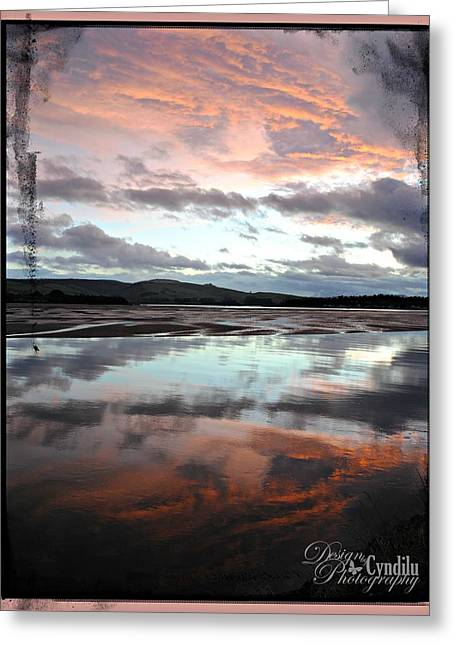 My Ocean Greeting Cards - Pink Fire in the Waters Greeting Card by Cyndilu Miller