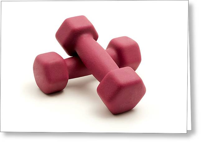 Cut-outs Greeting Cards - Pink fixed-weight dumbbells Greeting Card by Fabrizio Troiani