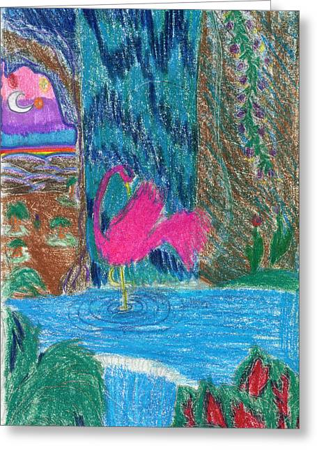 Fantasy Creatures Greeting Cards - Pink Flamingo Cave Greeting Card by Kd Neeley