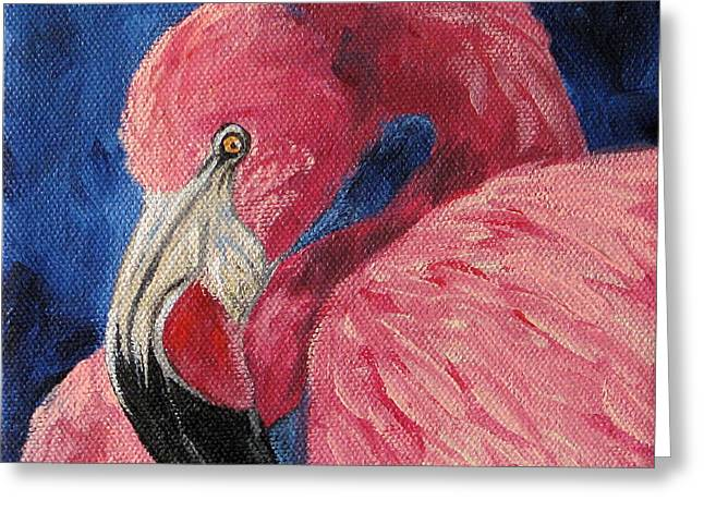 Water Fowl Paintings Greeting Cards - Pink Flamingo IV Greeting Card by Torrie Smiley