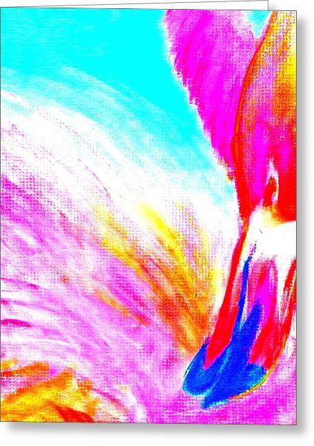 Loose Greeting Cards - Pink Flamingo Preening Greeting Card by Sue Jacobi