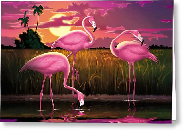 Tropical Bird Art Greeting Cards - Pink Flamingos At Sunset Tropical Landscape - Square Format Greeting Card by Walt Curlee