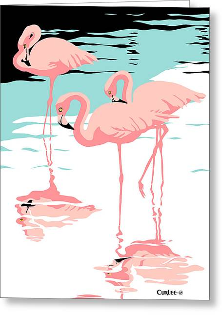 Beach Decor Paintings Greeting Cards - Pink Flamingos tropical 1980s abstract pop art nouveau graphic art retro stylized florida print Greeting Card by Walt Curlee