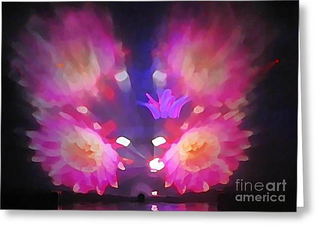 Pink Floral Abstract Greeting Card by John Malone