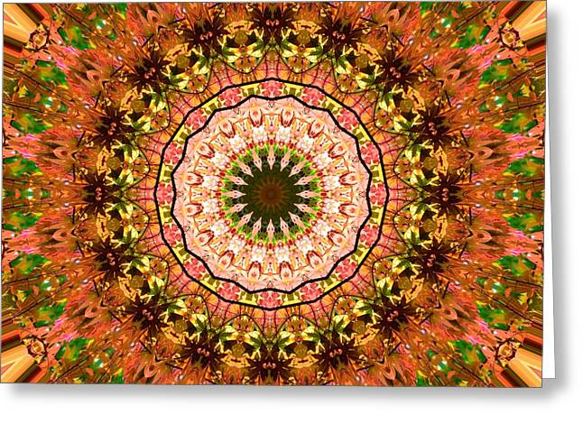 Floral Digital Art Greeting Cards - Pink Floral Kaleidoscope Greeting Card by Sheri McLeroy