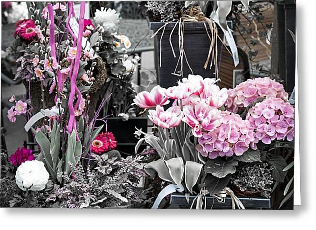 Pink flower arrangements Greeting Card by Elena Elisseeva