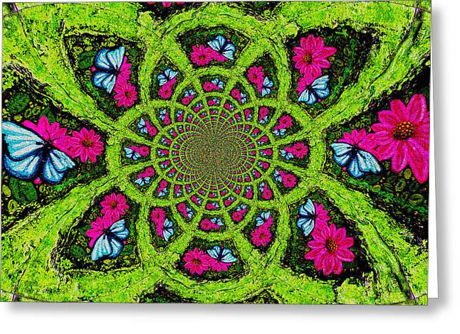 Pink Flower Prints Greeting Cards - Pink Flower Butterfly Kaleidoscope Mandela Greeting Card by Genevieve Esson
