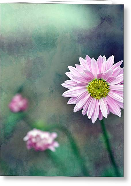 Flower Center Greeting Cards - Pink Flower Center Greeting Card by Rebecca Cozart