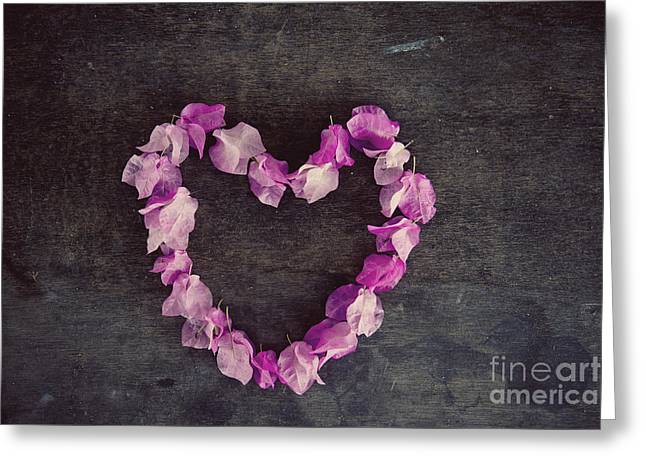 Greeting Cards - Pink flower heart Greeting Card by Ivy Ho