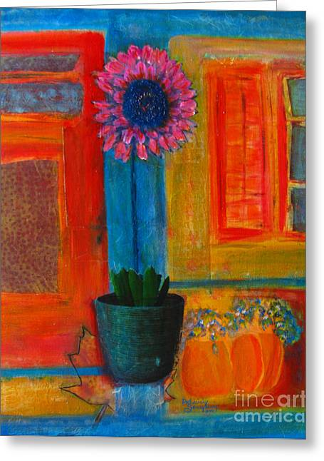 Januszkiewicz Mixed Media Greeting Cards - Pink Flower Greeting Card by Patricia Januszkiewicz