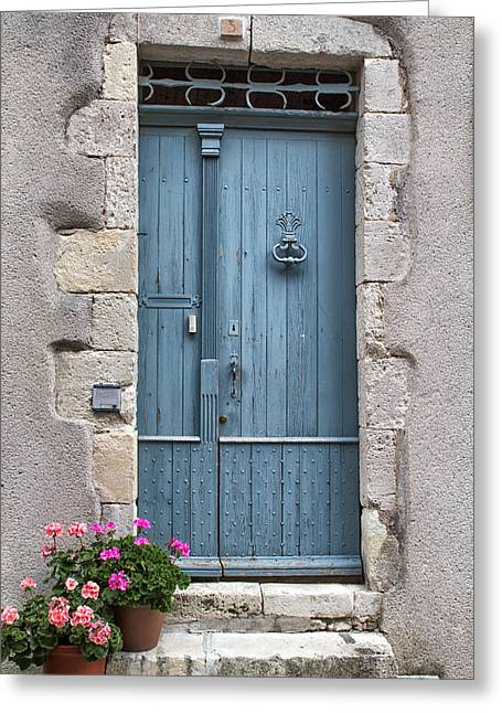 European Flower Shop Greeting Cards - Pink Flowers and a Blue Door Greeting Card by Nomad Art And  Design