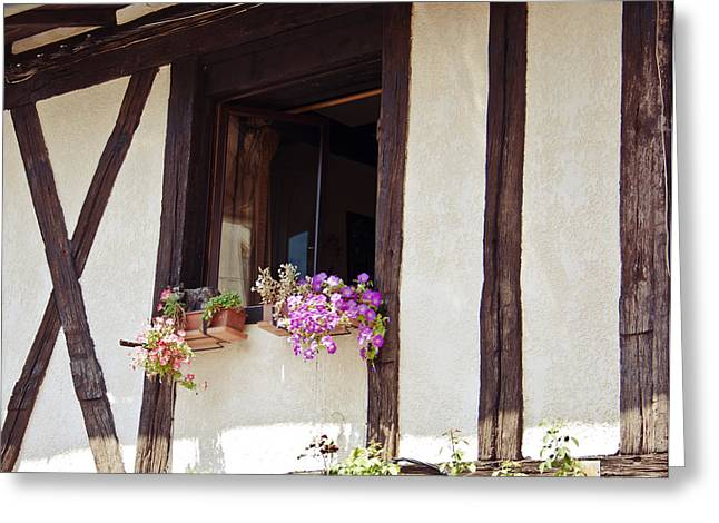 Wooden Building Greeting Cards - Pink Flowers at a Window Greeting Card by Nomad Art And  Design