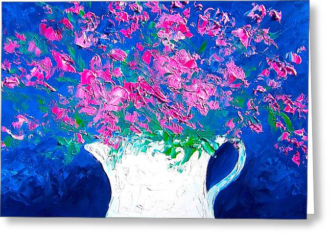 Deep Pink Greeting Cards - Pink Flowers in a jug Greeting Card by Jan Matson