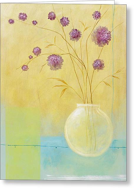 Pablo Paintings Greeting Cards - Pink Flowers Greeting Card by Pablo Esteban