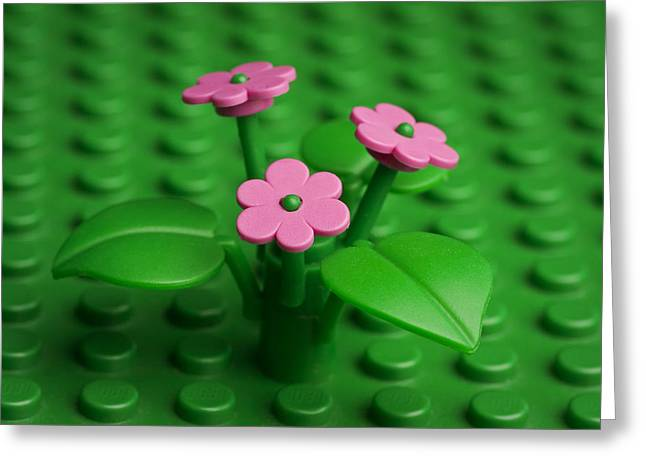 Lego Greeting Cards - Pink Flowers Greeting Card by Samuel Whitton