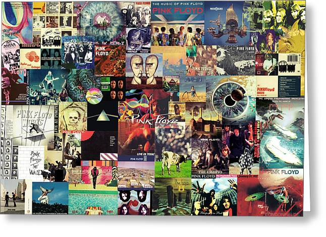 Printed Greeting Cards - Pink Floyd Collage II Greeting Card by Taylan Soyturk