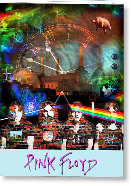 Rock Groups Greeting Cards - Pink Floyd Collage Greeting Card by Mal Bray