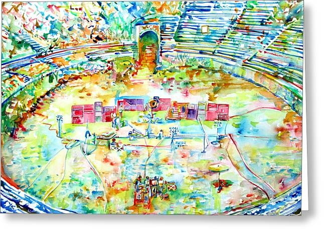 Live Concerts Greeting Cards - Pink Floyd Live At Pompeii Watercolor Painting Greeting Card by Fabrizio Cassetta