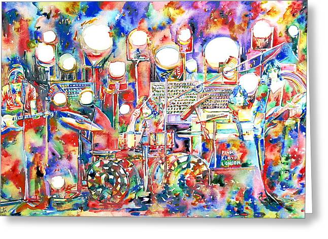 Guitar Pictures Greeting Cards - PINK FLOYD LIVE CONCERT watercolor PAINTING.1 Greeting Card by Fabrizio Cassetta