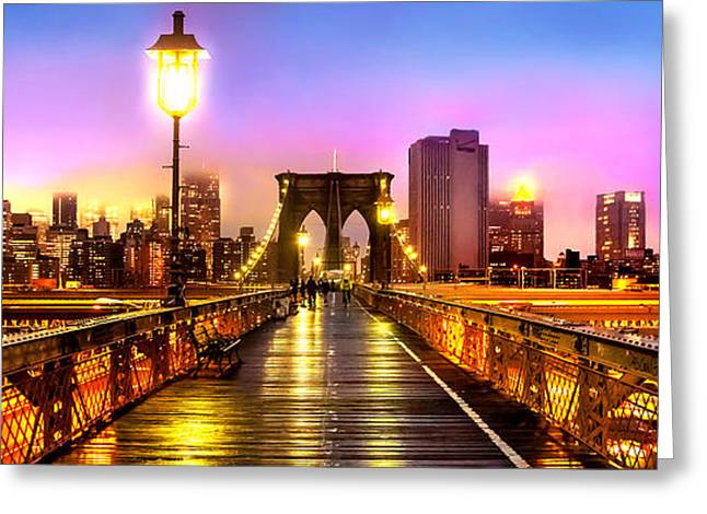 Famous Photographers Greeting Cards - Pink Fog Of New York City Greeting Card by Az Jackson