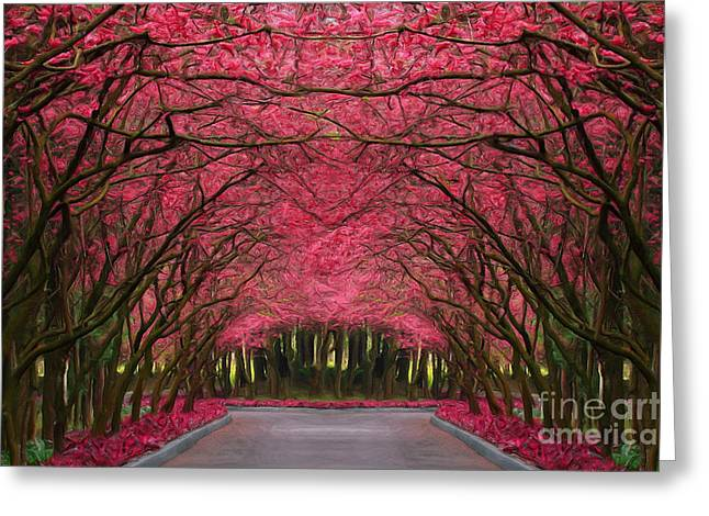Greeting Cards - Pink Forest Way Greeting Card by Martin Dzurjanik