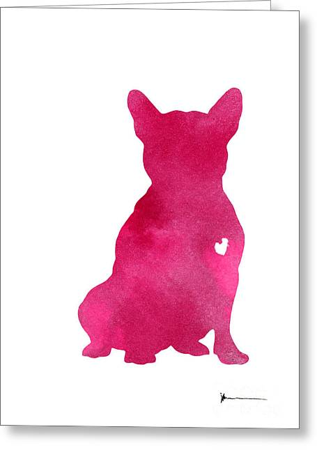 Pink French Bulldog Painting Watercolor Art Print Greeting Card by Joanna Szmerdt